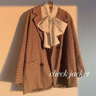 retro check tailored jacket♡Treat ürself(テーラードジャケット)