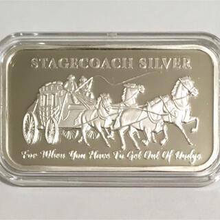 「駅馬車」1オンス純銀バー 4分割可能 サバイバル用 米国製 カプセル付けます(金属工芸)