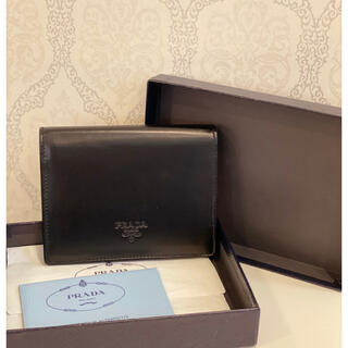 プラダ(PRADA)のPRADA プラダ 折り財布 カーフスキン ブラック レザー(折り財布)