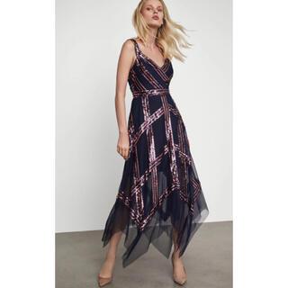 ビーシービージーマックスアズリア(BCBGMAXAZRIA)の❤️BCBGMAXAZRIA 2020新作新品 紺柄パーティードレス 結婚式(ロングドレス)