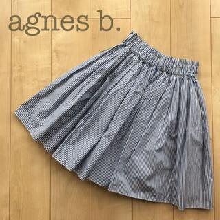 アニエスベー(agnes b.)のagnes b. プリーツフレアスカート ストライプ フリー 黒白 膝丈(ひざ丈スカート)