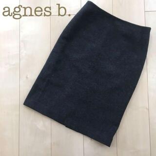 アニエスベー(agnes b.)のagnes b. ウールタイトスカート ダークグレー 36 秋冬 膝丈(ひざ丈スカート)