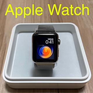 アップル(Apple)の美品 apple watch ステンレススチール 38mm(腕時計(デジタル))