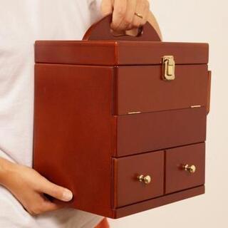 アウトレット コスメボックス ミラー付き 三面鏡 化粧品収納(ケース/ボックス)