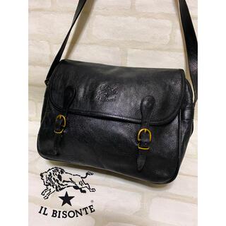 イルビゾンテ(IL BISONTE)の美品 イルビゾンテ ショルダーバッグ レザー ブラック ILBISONTE(ショルダーバッグ)