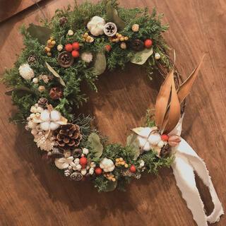 【確認用】木の実たくさんクレセントムーン⑅*.クリスマスリース(リース)