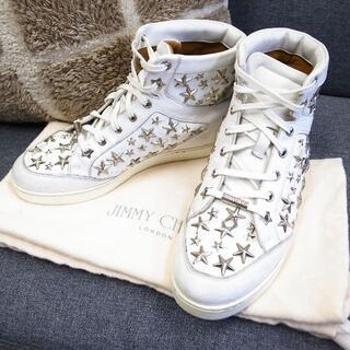 ジミーチュウ(JIMMY CHOO)の正規品☆ジミーチュウ スニーカー 星スタッズ 靴 白 レディース バッグ 財布(スニーカー)