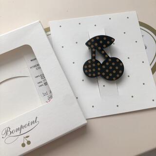 ボンポワン(Bonpoint)のボンポワン チェリー ブローチ ブラック × キャメルドット(ブローチ/コサージュ)