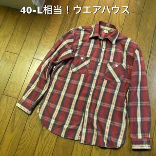 ウエアハウス(WAREHOUSE)の40-L相当!ウエアハウス 古着長袖ネルシャツ 赤ベース マチ付き (シャツ)