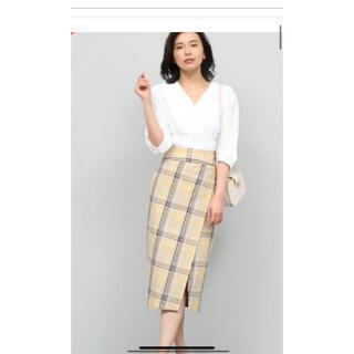 ロペ(ROPE)のROPE チェックタイトスカート 茶×黄 (ロングスカート)