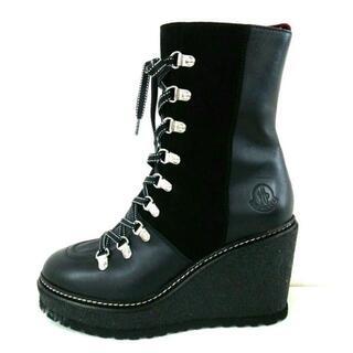 モンクレール(MONCLER)のモンクレール ショートブーツ 38美品  - 黒(ブーツ)