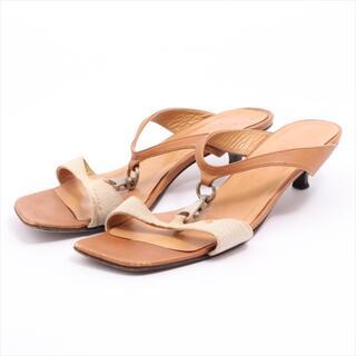エルメス(Hermes)のエルメス  キャンバス×レザー 37.5 ブラウン レディース その他靴(その他)