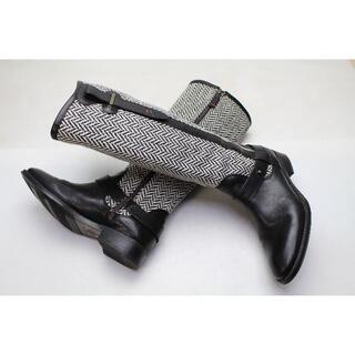 トミーヒルフィガー(TOMMY HILFIGER)の○美品 TOMMY HILFIGER 本革ブーツ 23.5 黒○B22(ブーツ)