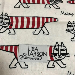 リサラーソン(Lisa Larson)のリサラーソン  生地 マイキー 赤 ハンドメイド(生地/糸)
