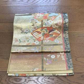 ニシジン(西陣)の格子に地紙模様 綺麗な西陣織袋帯(帯)