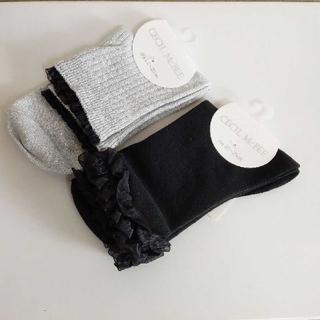 セシルマクビー(CECIL McBEE)のCECIL McBEE セシルマクビーレディースソックス黒とグレーラメ靴下(ソックス)