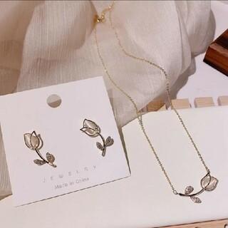 韓国風 イヤリング ネックレス セット(ネックレス)