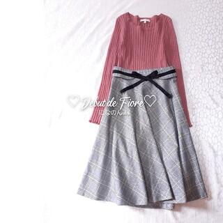 デビュードフィオレ(Debut de Fiore)のとても美品Debut de Fiore チェックデザイン×ウエストリボンスカート(ひざ丈スカート)