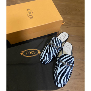 トッズ(TOD'S)のトッズ ゼブラ柄 ハラコ 新品未使用 バックレス ローファー サイズ34  22(ローファー/革靴)