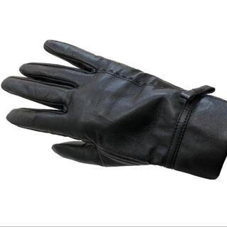 新品【レザー手袋グローブ】シンプル黒ブラックレディース本革 裏起毛 婦人女性用(手袋)