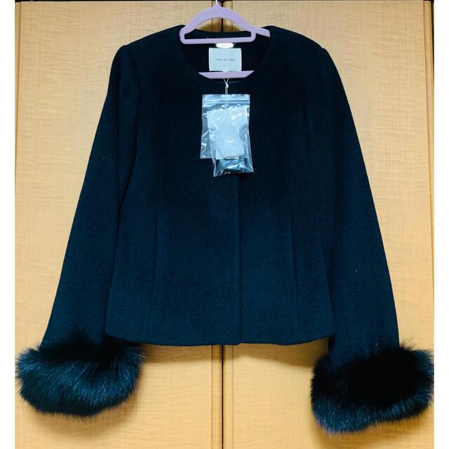 Debut de Fiore(デビュードフィオレ)のデビュードフィオレ ショートコート ブラック レディースのジャケット/アウター(毛皮/ファーコート)の商品写真
