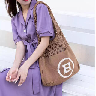ディーホリック(dholic)の韓国トートバッグ Hバッグ お洒落 シンプル アルファベット レディース 大容量(トートバッグ)