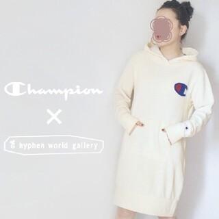 チャンピオン(Champion)の【ゆるサイズ♡】Champion ✖ イーハイフン パーカーワンピ アイボリー(ひざ丈ワンピース)