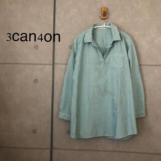 サンカンシオン(3can4on)の3can4on ストライプ ロングシャツ(シャツ/ブラウス(長袖/七分))