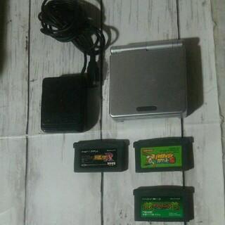 ゲームボーイアドバンス(ゲームボーイアドバンス)のゲームボーイアドバンスSP本体、付属品、ソフト3本セット(携帯用ゲーム機本体)