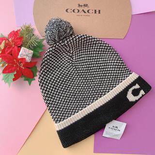 コーチ(COACH)の新品☆coach ブラック ニット帽 メンズ おしゃれ かわいい(ニット帽/ビーニー)