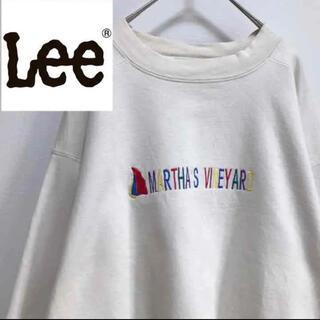 リー(Lee)のLEEリー•スウェット•ホワイト•トレーナー•刺繍•M(スウェット)