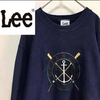 リー(Lee)のLEEリー•スウェット•刺繍•トレーナー•ネイビー•L(スウェット)