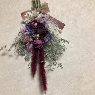 ♡No.189 pink*purple ドライフラワースワッグ♡(ドライフラワー)