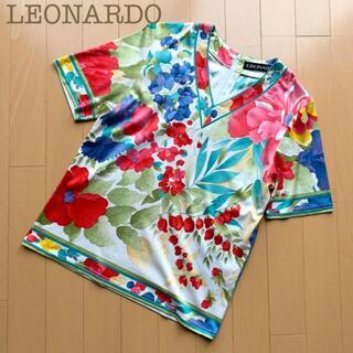 LEONARD - 鮮やか☆LEONARDO(レオナール)花柄カットソー シャツ 総柄 赤青 M