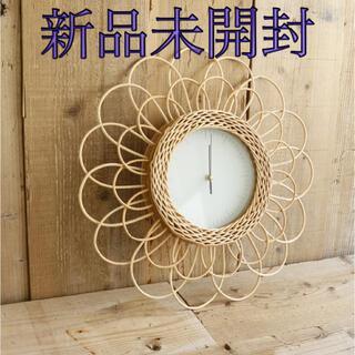 フランフラン(Francfranc)のラタン時計 ラタンフラワー時計 フラワー時計 柳(置時計)
