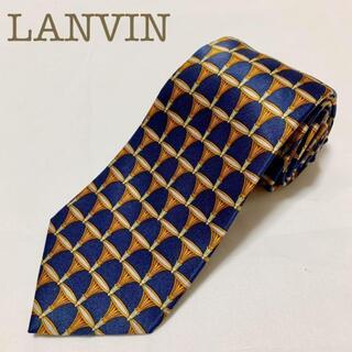 LANVIN - LANVIN(ランバン)ネクタイ ネイビー×ゴールド 紺 金 スカーフ柄