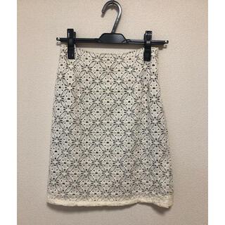 クードシャンス(COUP DE CHANCE)のクードシャンス♡レーススカート 34 ホワイト タイトスカート(ひざ丈スカート)