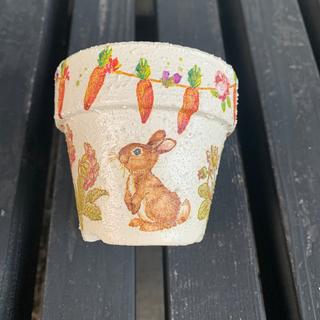 2.5号素焼き鉢のリメイク鉢3 うさぎ リメ鉢 植木鉢 リメイク缶 リメ缶(プランター)