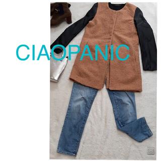 チャオパニック(Ciaopanic)の CIAOPANICチャオパニック♡プードルコート×フェイクレザー 切替 コート(ロングコート)