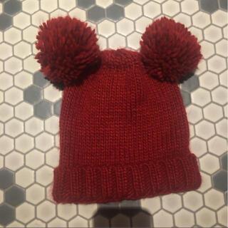 ザラキッズ(ZARA KIDS)のzara 子供用 ニット帽 ザラ キッズ ベビー レッド 赤 ボルドー クマ耳(帽子)
