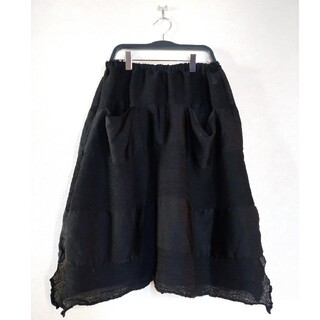 イッセイミヤケ(ISSEY MIYAKE)のミーイッセイミヤケ 黒 シースルースカート(ひざ丈スカート)