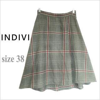 インディヴィ(INDIVI)の【INDIVI】黒白チェック柄ウールテールカットスカート*インディヴィ*38(ひざ丈スカート)
