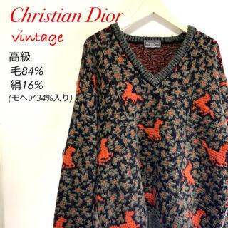 Christian Dior - ヴィンテージ  クリスチャンディオール   総柄 シルク混 ニット セーター