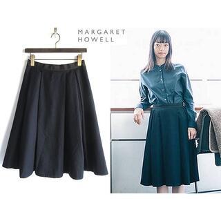 マーガレットハウエル(MARGARET HOWELL)のマーガレットハウエル ウールフランネル プリーツ フレアスカート 2 日本製(ひざ丈スカート)