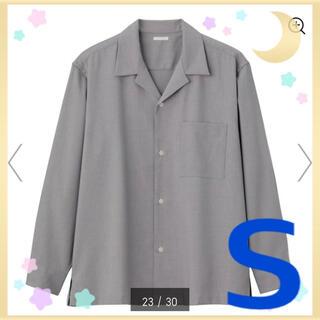 GU - ⓰新品 GU MEN オープンカラーシャツ 長袖 GRAY グレー 男性