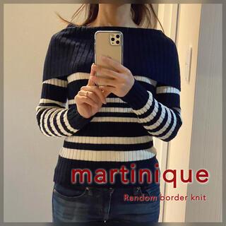 マルティニークルコント(martinique Le Conte)のmartinique◆ランダム ボーダー オフショル リブニット ネイビー 美品(ニット/セーター)