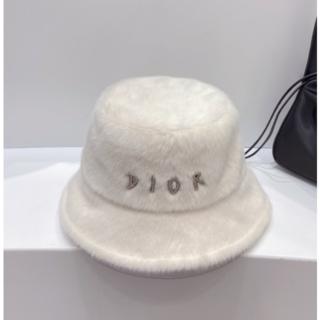 Dior - Dior ロゴ フワフワ ハット ホワイト