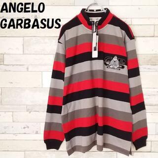 アンジェロガルバス(ANGELO GARBASUS)のアンジェロガルバス ボーダー 刺繍ロゴ ジップ トップス レッド×ブラック系 M(Tシャツ/カットソー(七分/長袖))