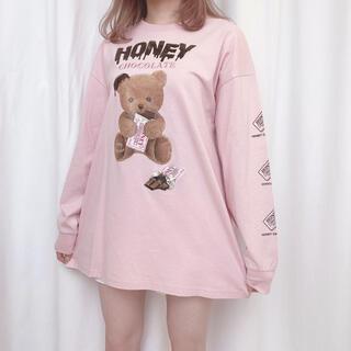 HONEY CINNAMON HONEY CHOCOLATE ロンT ピンク