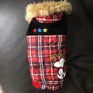 スヌーピー(SNOOPY)のスヌーピー 綿入りベスト ファー付き 赤チェック DS(犬)